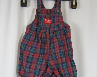 Adorable Vintage PLAID Toddler / Baby Jumpsuit Overalls BIBS Romper Red OshKosh Plaid Bibs Outfit