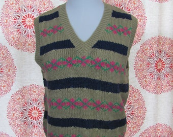 1d8b0c6c0087a Womens Vintage 80s   90s Cute Knit Sweater Tank   Sweater Vest   Sleeveless  Top   Hipster   90s Prep   Argyle