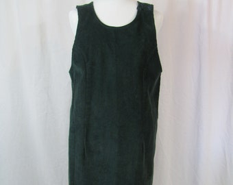 Vintage Womens 90s Green Corduroy Jumper Dress