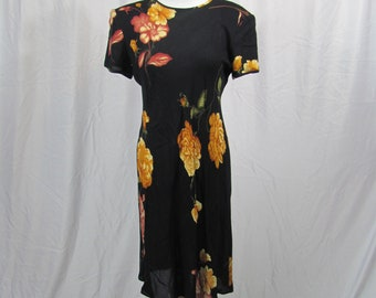 Vintage 90s Womens Black And Yellow FLORAL Sundress Summer Dress