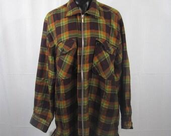 Vintage 80s/90s Plaid Zip Up Shirt