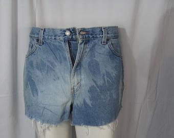 Vintage 90s High Waist Cut Offs Levi's Denim Jean Shorts Bleach Cut offs Frayed Distressed Shorts