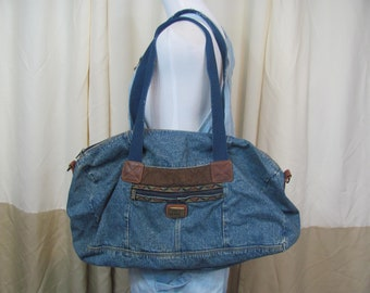 Vintage 90s Oversized DENIM Jean Duffel Bag Oversized bag   overnight Bag  weekend Bag Luggage Travel Bag Carry On 90s Grunge   Large bag ee880b7568784