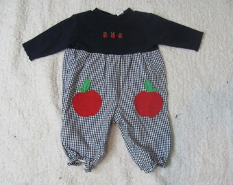 58831585742 Adorable Vintage 90s Baby Girl ROMPER   APPLE Romper   Jumpsuit   Playsuit    Puffy Pants   Fruit   Checkered   Blue   Infant   baby Clothing
