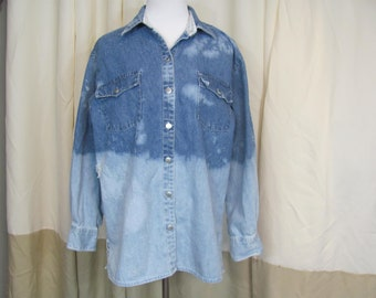 c53b623e62c Vintage 90s Distressed Bleached Out DENIM Long Sleeve Button Down Front  Pocket Shirt   Bleached   Light Wash   Distressed Jean Top