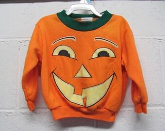 Vintage Infant JACK O LANTERN Pumpkin HALLOWEEN Sweatshirt Size 12 Months