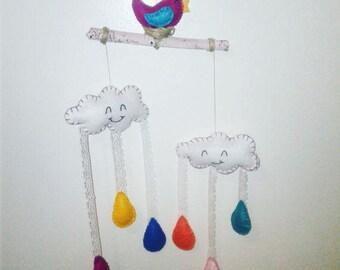 Rainy day CLoud BIRD felt baby mobile /wall hanging/nursery decor