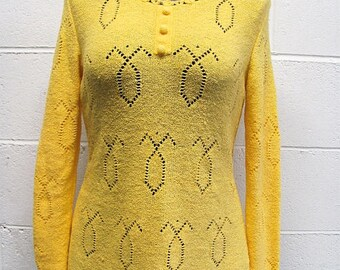 Vintage 70s Yellow Knit Sweater