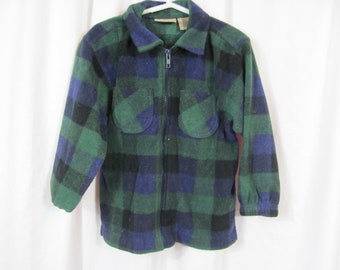 Vintage 90s Boys Green and Black Plaid Fleece Jacket Toddler Jacket / Cozy / Warm / Zip Up / 90s Grunge / Plaid front Pocket Sweater Jacket