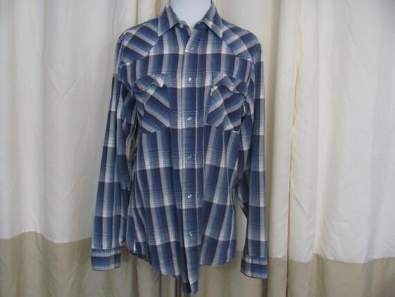 d6f64d1b Mens Vintage 90s Blue Western Shirt LEVI STRAUSS Plaid Long | Etsy