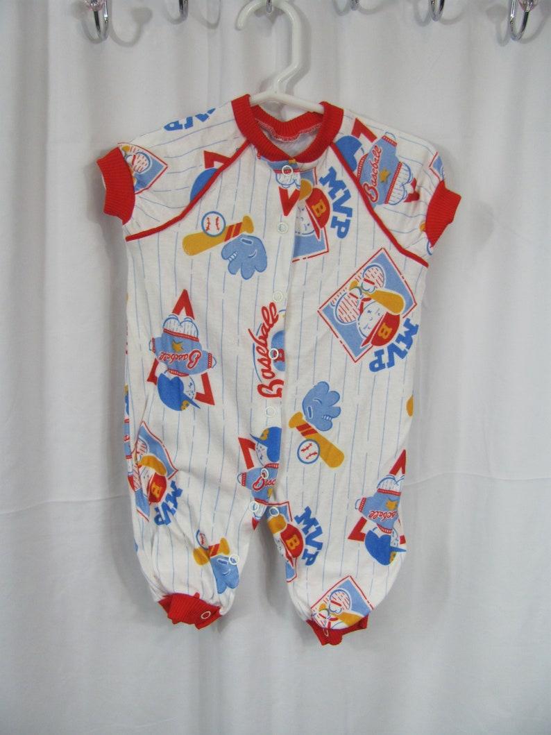 64e34e7966f2 Vintage 80s 90s Baby Boys BASEBALL Summer Sleeper Short Sleeve