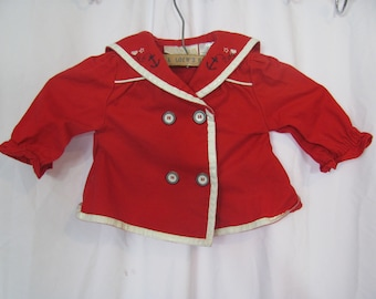 Adorable Vintage Baby Girl Retro SAILOR Jacket / Top Red Nautical Shirt Double Breasted Jacket