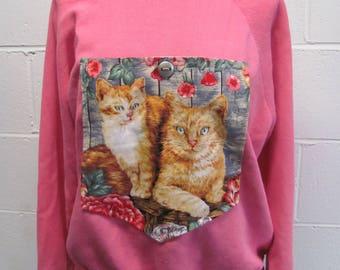 VTG Big Pocket CATS Pink Sweatshirt