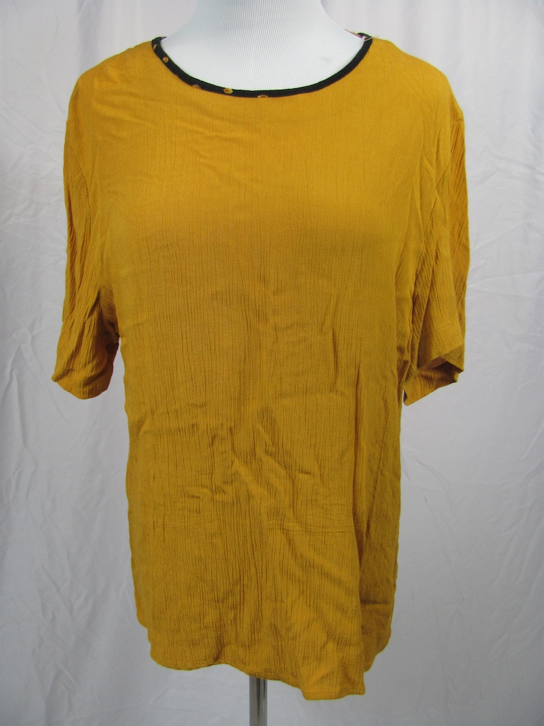 Cute Vintage Womens Mustard Yellow Blouse  Top