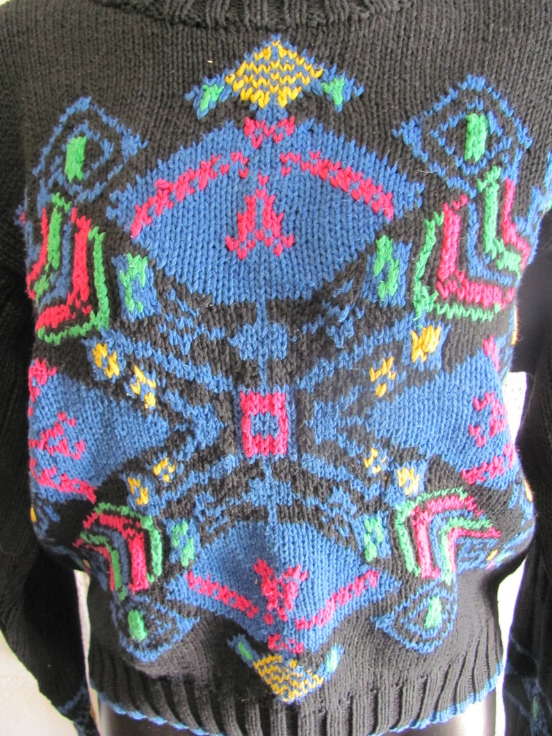 Super Cute Womens Vintage 80s90s Knit Sweater Pullover Sweater Sweatshirt Multi Colo Chunky Knit