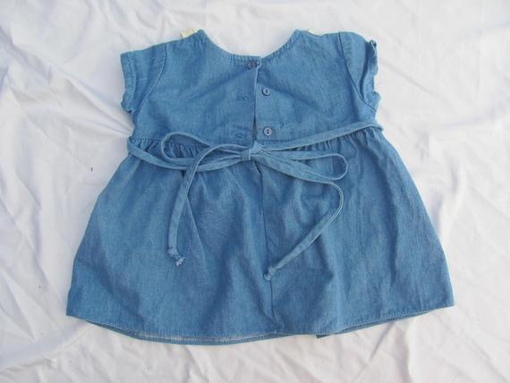Vintage Denim dress 1990s 2t 2-3 years girl retro blue teddy bear