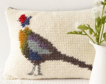 Pheasant Cushion, Crochet Pattern, Woodland Animal, Forest Decor, English Countryside, Lodge Decoration, Easy to Make, Intarsia Crochet