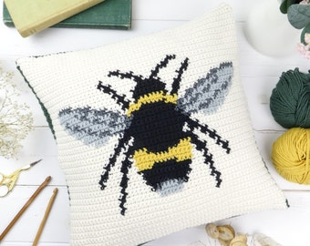 Bumble Bee Cushion, Crochet Pattern Tutorial, Large Honey Bee, Animal Cushion, Insect Pillow, Square Shape, Modern Intarsia, Picture Crochet