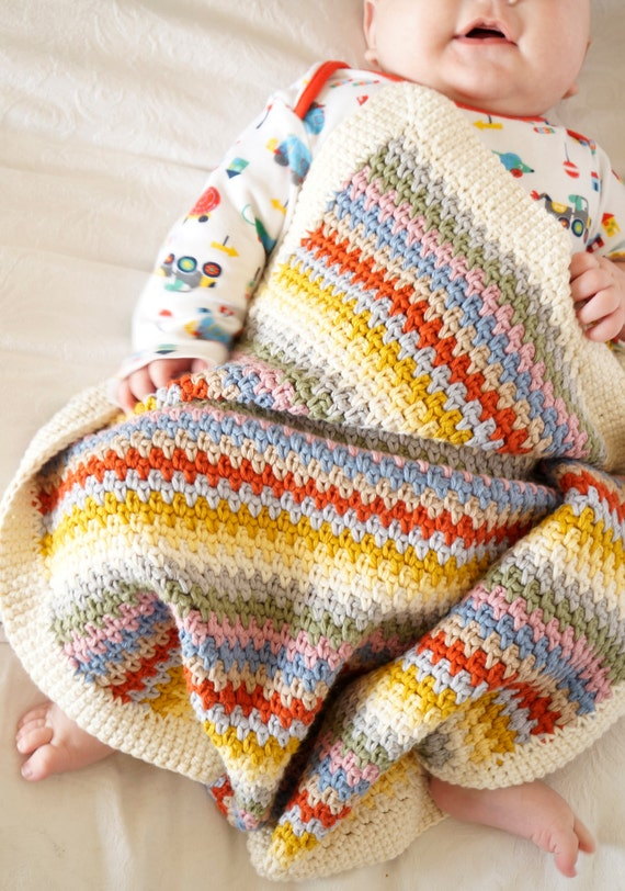 Baby Afghan Muster einfach Häkelanleitung Anfänger junge