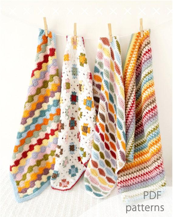 Crochet patrones oferta paquete de cuatro afganos | Etsy