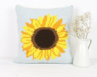 Crochet Pattern, Sunflower Cushion, Pattern for Crochet, Flower Pillow, Crochet Home Decor, Intarsia Pattern, Square Pillow, Graphghan Chart