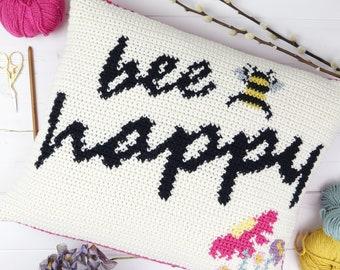 Bee Happy Cushion, Crochet Pattern, Pillow Crochet Tutorial, Rectangular, Summer Home Decor, Intarsia Crochet, Picture Chart, Dk Yarn, Pink