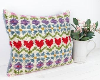 Spring Fling Fair Isle Crochet Cushion Pattern, Pillow Tutorial, Intarsia Crochet, Springtime, With Envelope Back, US Terms, English Terms