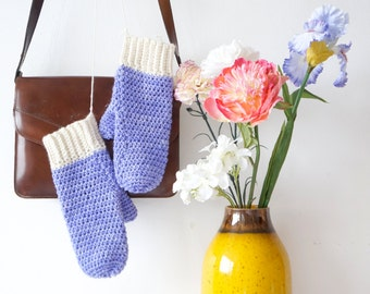 Periwinkle Mits Crochet Pattern PDF Mitten Winter Gloves Written Tutorial Warm Woolens