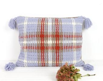 Plaid Pillow Crochet Pattern, Blue and Rust Cushion, Autumn Decor, Fall Sofa Cushion, Patterns for Crochet,Winter Theme,Cushion with Tassels