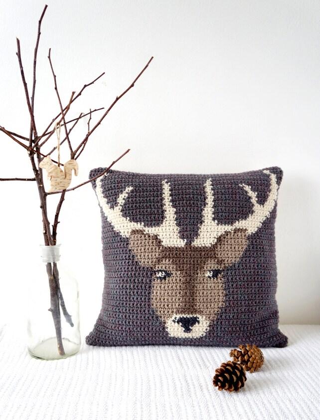 Stag Crochet Pattern Deer Crochet Stag Cushion Crochet | Etsy