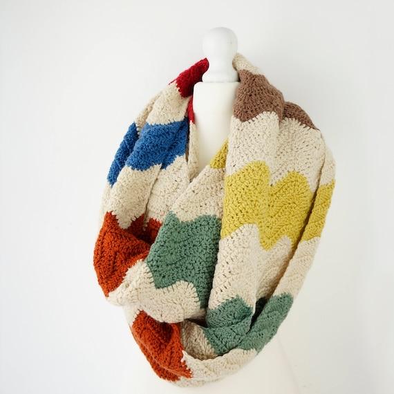Infinity Scarf Crochet Patterns Chevron Ripple Pattern for | Etsy