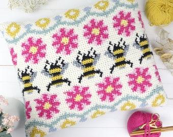 Busy Bee Fair Isle Cushion Crochet Pattern, Crochet Pillow Tutorial, Fairisle, Bumble Bee, Bright Colour, Summer Home Decor, Bold Design, UK