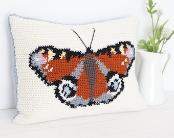 Butterfly Crochet Pattern, Cushion Crochet, Pillow Pattern, Rust Cushion, Wildlife Crochet, Nature Decor, Woodland Animal, Insect Crochet