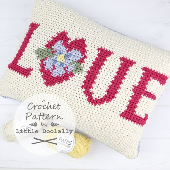 Love Cushion Mothers Day Crochet Pattern Gift For Mum Pink Etsy