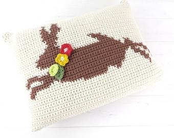 Hare Crochet Cushion, Graphghan Crochet Pattern, Intarsia Crochet,Pillow Crochet Pattern,Rabbit Cushion,Patterns for Crochet, Easter Crochet