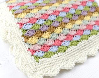 Crochet Pattern Blanket, Baby Blanket, Afghan, Spring Colours, Lap Blanket, Patterns for Crochet, Home Decor, Farmhouse Style, Colourful
