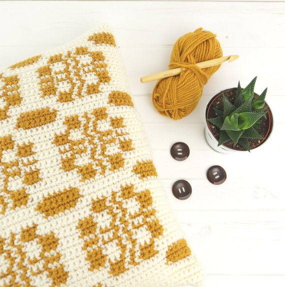 Intarsia Crochet Pattern Cushion Crochet Pattern Welsh Etsy