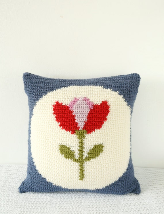 Tulip Cushion Crochet Pattern Red Flower Vintage Design Etsy