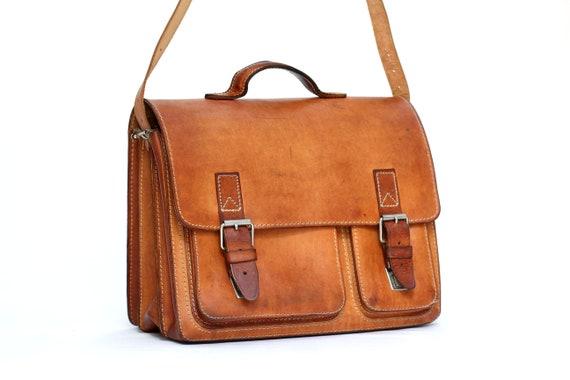 Messenger bag cognac leather briefcase URANUS