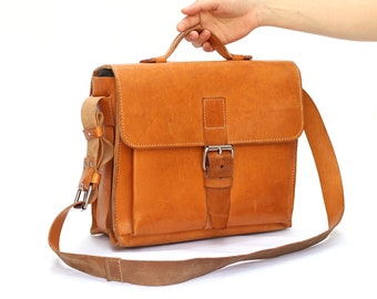 Small Messenger bag leather school bag briefcase leather crossbody bag LAURIE