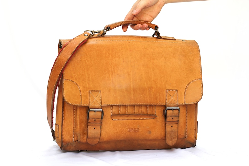 BREE Messenger tan leather bag leather backpack briefcase attache leather school bag DIMITRI
