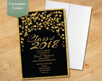 Gold Glitter Confetti Graduation Invitation, High School, College, Graduation Party Invite, Printable, Printed, Class of 2018
