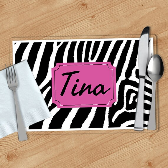 zebra print personalized placemat customized placemats etsy