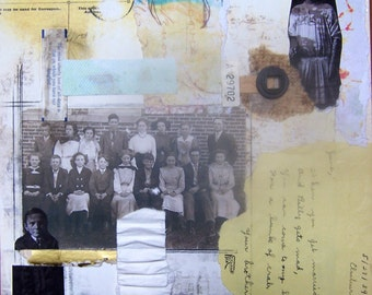 Those Old School Days- Original mixed media collage