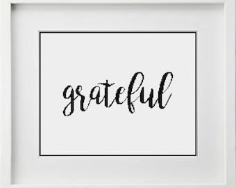 Grateful Cross Stitch Pattern {Simple Modern Handwritten Script Font} -- Instant Digital PDF Download