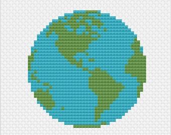 Small Earth World Cross Stitch Pattern -- Instant Digital PDF Download!