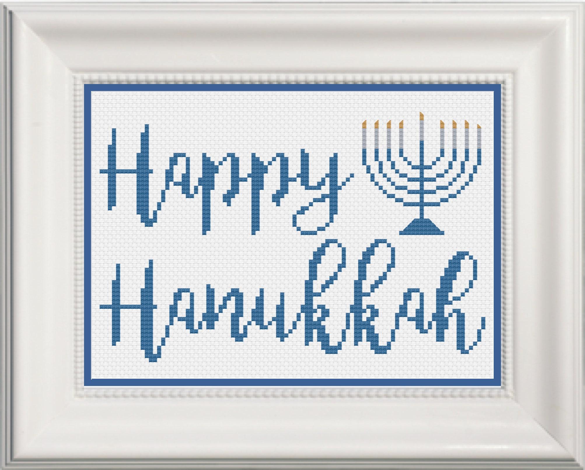Happy Hanukkah With Menorah Cross Stitch Pattern Instant Etsy
