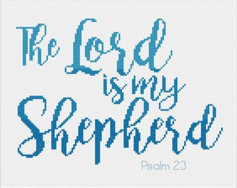"""Psalm 23 Bible Verse Cross Stitch Pattern """"The Lord is my Shepherd"""" Ombre -- Instant Digital PDF Download"""