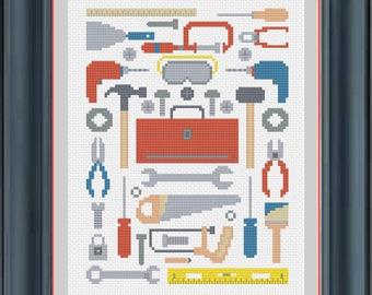 Tools Sampler Handyman Construction Cross Stitch Pattern -- Instant Digital PDF Download!