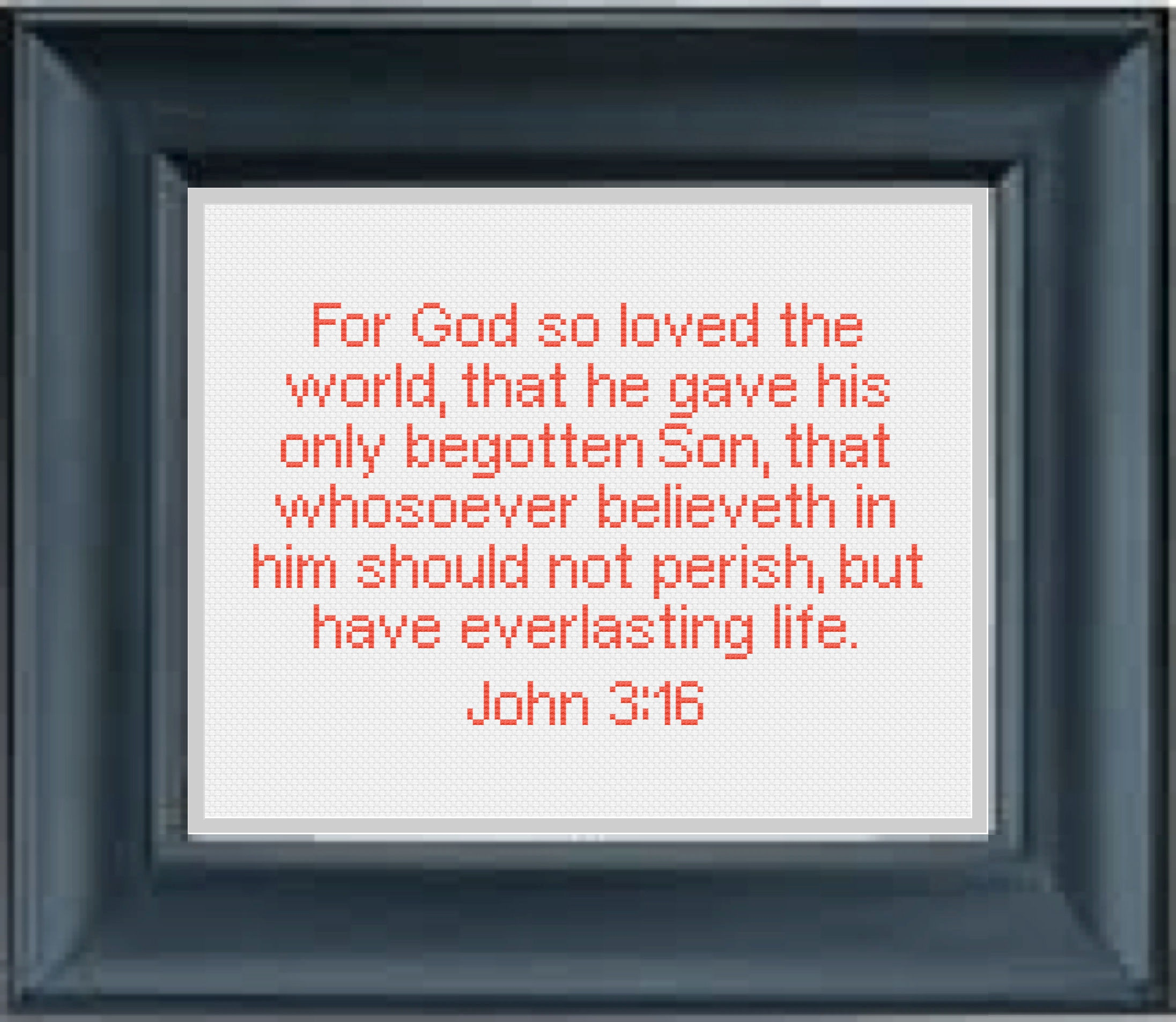John 3:16 Bible Verse Cross Stitch Pattern For God so | Etsy